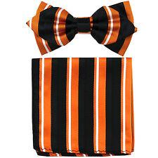 New in box formal Men's Diamond Shape Pre-tied Bow Tie & Hankie Orange Black