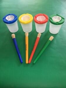 Children's Plastic Non Spill Paint Pots Lids Stoppers & Kids Art Chubby Brushes