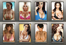 New Set Of 8 Quality Fridge Magnets, Sexy Glamour Models, Big Boobs, Cleavage