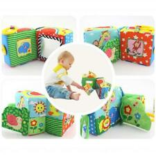 1Pcs Baby Ring Rattle Educational Plush Toys Soft Building Blocks Cube Cloth N7