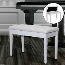 """30"""" Double / Duet Storage Piano Bench Seat PU Leather Padded Wooden White"""