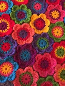 "10 Crochet Flowers 3.5""🌷 Handmade Applique Embellishment Craft Blankets Squares"