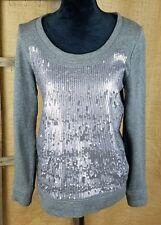 J. Crew women S sequin sweatshirt gray long sleeve cotton