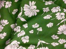"Vintage Cheerful Asparagus Green & White Flowers Fabric 4 YD x 38 1/2"" 460"