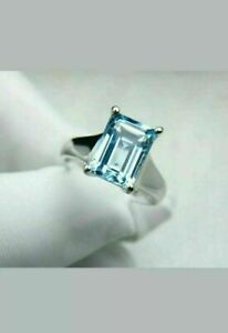 2.50Ct Emerald Cut Blue Aquamarine Solitaire Engagement Ring 14K White Gold Over