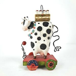 Whimsical Spotted Cow Christmas Ornament w/ Milk Crate Cute Farm Animal Sparkly