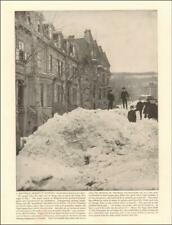 MONTREAL STREET in WINTER, SNOW DRIFTS, antique print authentic 1890