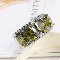 Multi Huge Oval Natural Olive Peridot Gemstone Silver Band Ring Size 6-10