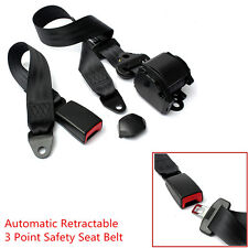 Car Truck Black Automatic Retractable 3 Point Safety Seat Lap Belt Set Universal