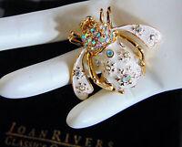NEW Joan Rivers SNOWFLAKE Crystal BEE PIN Brooch Aurora Borealis Rhinestone Gold