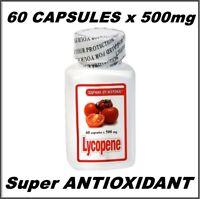 LYCOPENE 60 CAPSULES x 500mg,BOOST IMMUNE Super ANTIOXIDANT, PROSTATE HEALTH