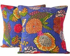 5 Pc Indian Kantha Cushion Cover Set Of Sofa Cushion Throw Bed Pillow Case 16x16