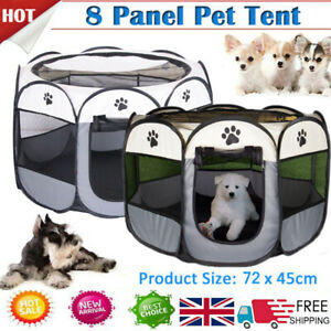 600D Oxford Portable Pet Puppy Soft Tent Playpen Dog Cat Folding Crate Small UK