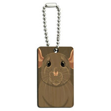 Rat Dumbo Fancy Gray - Pet Mouse Wood Wooden Rectangle Key Chain