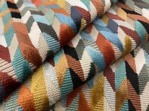 Osborne & Little Chevron Cut Velvet Epingle Fabric- Felicia / Terracotta 2 yds