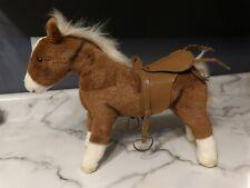 "HTF GOTZ 15"" x 11"" Pottery Barn Kids Doll Plush Brown Horse Pony w/ Saddle (*8)"