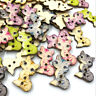 50/100pcs Mix Cat Animal Wood Buttons 27*22mm Sewing Craft Mix Lots WB522