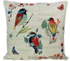 Kissenhülle 45 x 45 cm Romantik Landhaus Gobelin Vögel Noten Kissenbezug Kissen