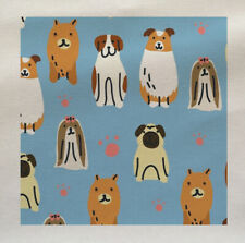 Dog Illustration Fabric Cotton Upholstery Quilting Custom Size Craft Cloth