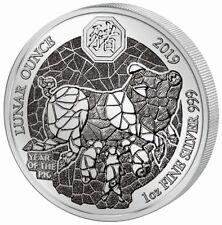 1 Ounce Silber Proof Lunar Year of the Pig Schwein Ruanda 2019 Silver Rwanda