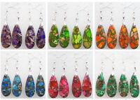 One Pair Sea Sediment Jasper & Pyrite Teardrop Dangle Earrings Choose Color