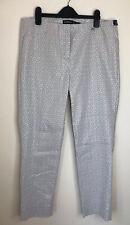 Robell Rose 09 Beige Ankle Grazer Trousers UK18 Geometric Metallic silver print