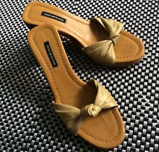 DKNY Pearly Gold Mules With Wooden Heel Size 6