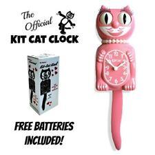 "Strawberry Ice Lady Kit Cat Clock 15.5"" Rosa Gratis Batería Eeuu Hecho Kit-Cat"