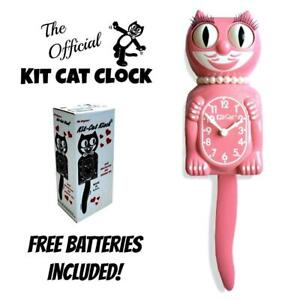 "STRAWBERRY ICE LADY KIT CAT CLOCK 15.5"" Pink Free Battery USA MADE Kit-Cat Klock"