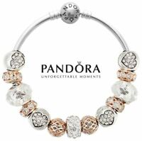 Authentic Pandora S925 Silver Bangle Bracelet with 13 bead charms Gold Heart USA