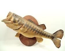 "Trophy Fish Lg Mouth Bass 22""+ Real Skin Taxidermy Mount on Wood Plaque"