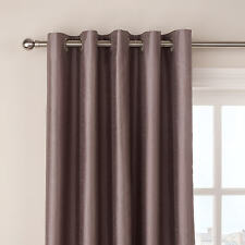 "Tesco Mocha Coffee Brown Faux Silk Eyelet Curtains 66 X 54"" / 163 X 137cm Lined"