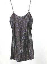 Victoria's Secret Medium Black Floral Spaghetti Strap Lingerie Slip Gown