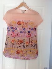 LADIES 'TEDBAKER' NUDE PINK FLORAL S/SLEEVE TOP. SIZE 6/ TED/0. GOOD CONDITION