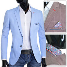 Men's Blazer Light Baby Blue Brown Jacket Casual Formal Check Pattern Slim Fit