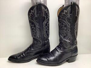 VTG WOMENS DAN POST COWBOY BLACK BOOTS SIZE 7 D