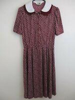 Vintage Dress SEARS polyester maroon 1970 1980
