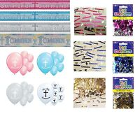 COMMUNION PARTY DECORATIONS BANNERS BALLOONS CONFETTI  PINK BLUE SILVER