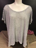 Womens Size XXL Gray White Striped Lightweight Shirt Sleeve Sheer Shirt