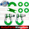 """1Pair 3/4"""" Silver 4.75 ton D-ring Shackle+Green Isolator Washers Silencer Clevis"""