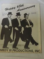 THRE STOOGES Happy 65th Anniversary Autographed by Joes WIfe and Larrys Grandson