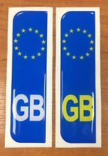 2 x Euro GB Vehicle Number Plate Stickers - 29mm - HIGH GLOSS DOMED GEL FINISH