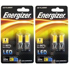 4 x Energizer G9 LED 2W = 20W FILAMENT Capsule Bulb Warm White Use 90% less ene.