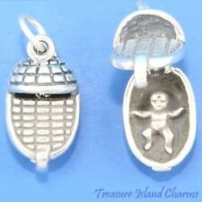 Baby In Basket Movable 3D .925 Solid Sterling Silver Charm Opens MADE IN USA