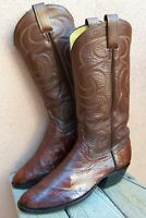 Mens Cowboy Western Boot Rich Mahogany Brown Eel Skin Leather Riding Size 8.5D