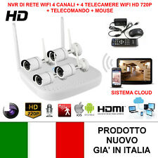 KIT VIDEOSORVEGLIANZA WIRELESS WIFI FULL 720P HD IP 4 TELECAMERE APP LAN REMOTO