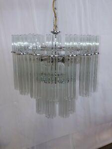 Vtg Mid Century Modern 8 light Glass Tube Rod Chrome Chandelier Sciolari Style