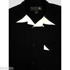 NAT NAST Men 100% Woven Silk Retro Rockabilly Hawaiian Lounge Camp Shirt Black M