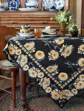 April Cornell Tablecloth Sun Follower Collection 36x36 NWT 100% Cotton Black