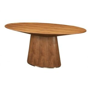 "71"" L Oval Dining Table Brushed Stainless Steel Base Walnut Veneer Contemporary"